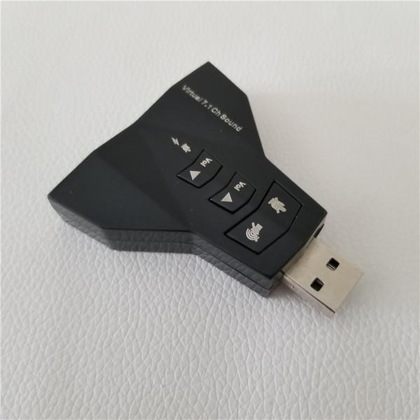 Adaptador de audio externo de la tarjeta de sonido del usb de 7.1 canales a 3.5mm Aux 3D Mic / Speaker
