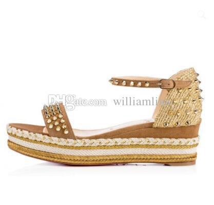 2018 Red Bottom Sandals Madcarina 60MM Flatform Espadrilles Woven Braid Ankle Strap Sandalias Mujer Summer Spikes Famous Party Dress Br