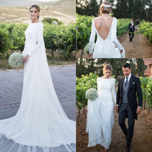 top popular 2019 Modest Long Sleeves Sheath Bohemia Wedding Dresses Backless Court Train Wedding Bridal Gowns With Buttons robes de soirée 2019