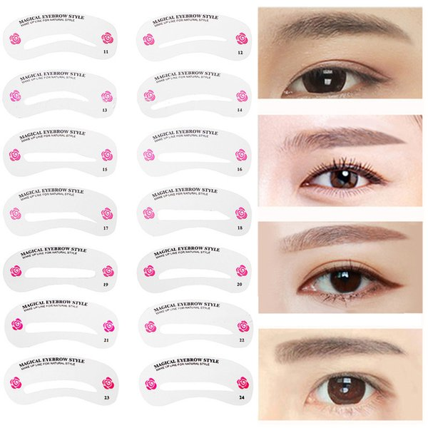 24Pcs Pro Reusable Eyebrow Stencil Set Eye Brow DIY Drawing Guide Styling Shaping Tool Grooming Template Card Makeup Models Kit