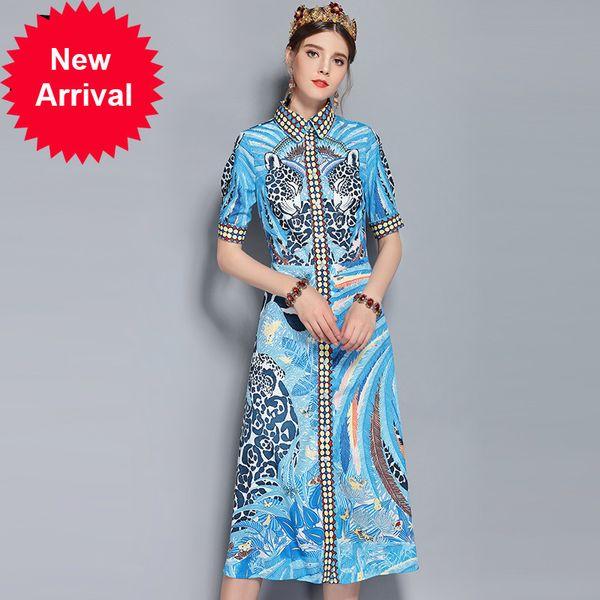 New 2018 Fashion Designer Runway Dress Summer Women's Short Sleeve Animal Leopard Floral Printed Vintage Dress