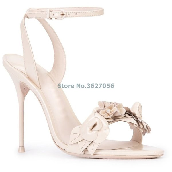 Atacado New Nude Rosa de Prata Preto Grão De Pele De Carneiro Sapatos De Casamento Elegante Estereoscópico Flor Fina Sandálias de Salto Alto