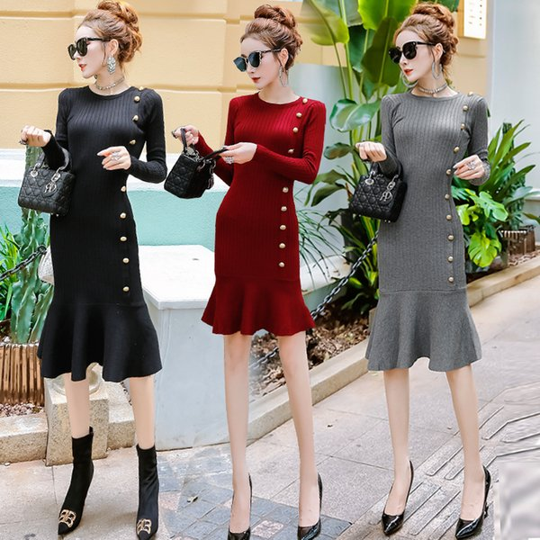 2018 Autumn and Winter European and American Sexy Ladies' Round Neckwear Long Sleeved Fish Tail Knitted Medium Length Dress A0069