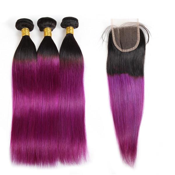 Ishow 10A Ombre Color Hair Weaves Extensiones Cabello peruano 3 paquetes con cierre T1B / 27 T1B / 99J Cuerpo Onda Cabello humano recto