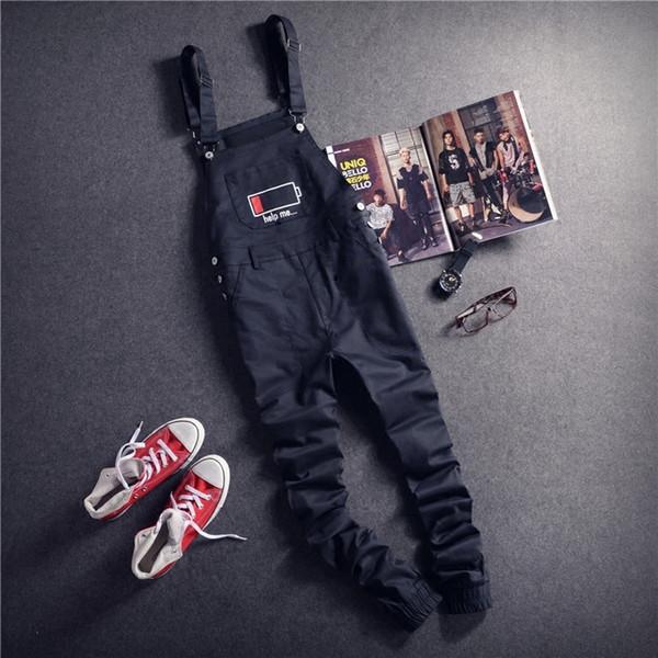 Mens Black Cargo Trouser Bib Overalls Casual Straight Long Bib Suspender Pants Men One Piece Male Fashion Work Jumpsuits D100603