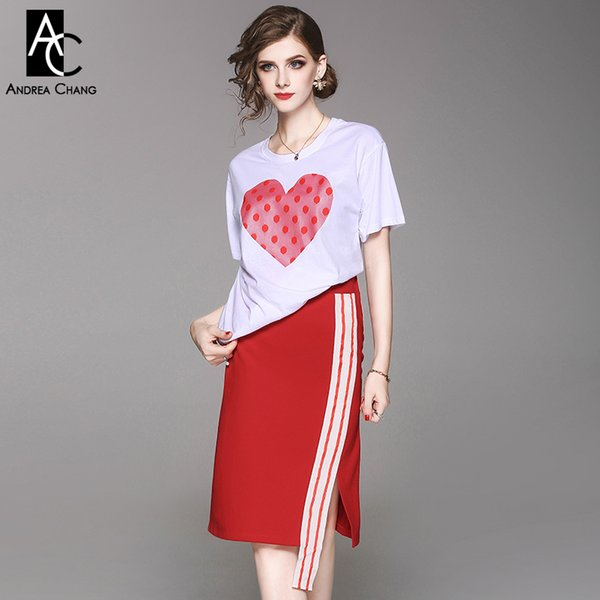 spring summer woman clothing set red dot pink heart pattern print chest white t-shirt white strip belt knee length red skirt set