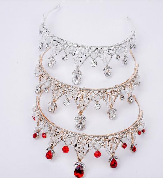 Brides handball beads, diamond crown, Korean style hot metal alloy hand-made string crystal headwear accessories hoop