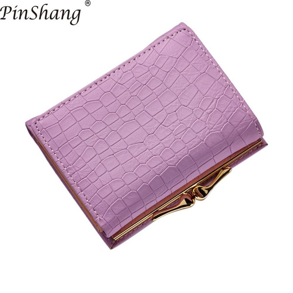 PinShang Crocodile Pattern PU Leather Women Short Wallet Fresh Style Lady Notecase Women Purse with Coin Pocket Wallet&Purse Z40