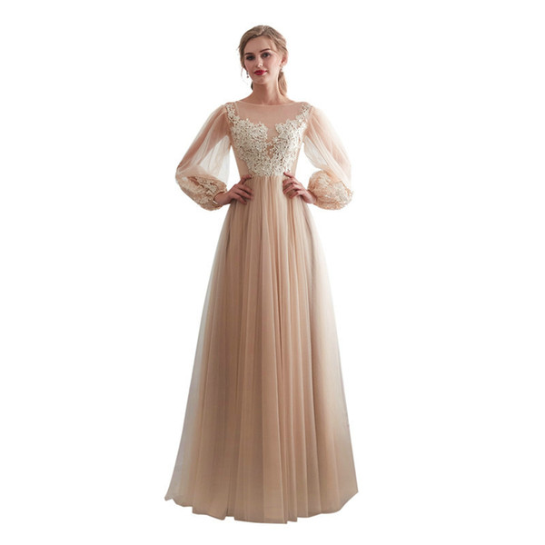 Champagne Long Sleeves Appliques New Evening Dresses 2019 Real Photo Beach Simple Sexy Fashion Evening Gown Csutom Made For Party