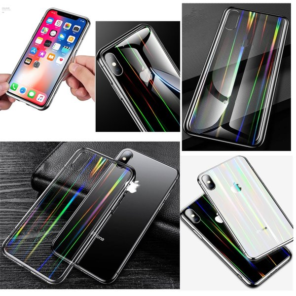 Laser Aurora Rainbow 6D Tempered Glass Clear Case For iPhone XS Max XR X 8 7 6 Plus Soft TPU Bumper Transparent Back Cases Cover