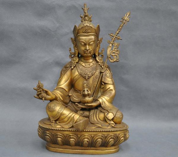 13'' China Tibet Bronze Lotus Born Guru Padmasambhava Buddha Statue