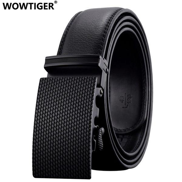 WOWTIGER New Fashion brand Automatic buckle men belt Alloy buckle Genuine Leather Luxury Belt for men