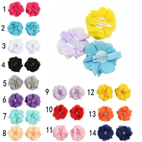 best selling 2018 14colors Chiffon Flowers With Pearl Rhinestone Center Artificial Flower Fabric Flowers Children Hair Jewelry Baby Headbands Flower