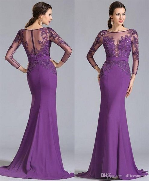 Purple Plus Size Mother Off the Bride Dresses Vintage Lace Long Sleeves Ruched Chiffon Sequins Elegant Mother Formal Prom Party Gowns