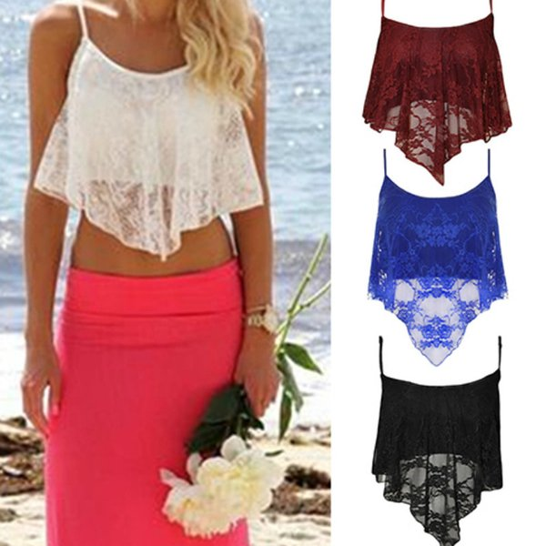 2018 Summer Sexy Fashion Women Spaghetti Strap Crop Tank Tops Lace Pure Color Floral Irregular Hem Camis