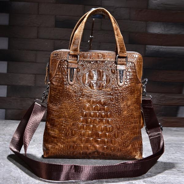 Men's Genuine Leather Messenger Shoulder Bag Business Cowhide Tote Handbag Crocodile pattern Travel Casual Male Cross body travel Bags