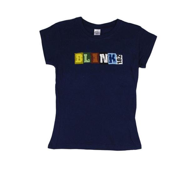 FUNCIONAL Blink 182 - Letras de bloque MUJERES Camiseta chicas NUEVO licenciado Merch