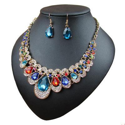 Wholesale 6 Styles Big Gemstone Pendants Jewelry Set Choker Earrings Studs Wedding Jewelry Sets Mothers Day Gifts Wedding Decorations