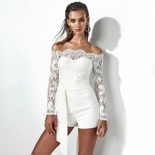 Lace Off Shoulder Bodysuit Women See Through Long Sleeve Skinny White Women Rompers Casual Feminino Jumpsuit Shorts Bodysuit