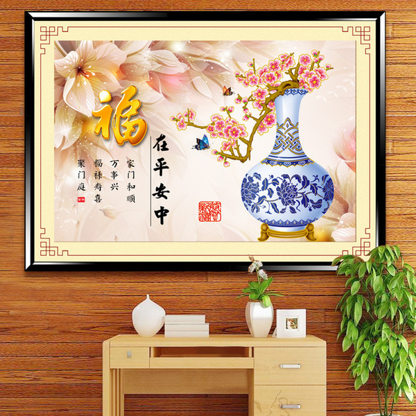 5d Magic Cube Diamonds Painting Blessings At Safety In Stick Drill Cross Embroidery Furniture Decoration Painting Generation Hair Recruit Di