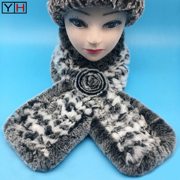 2018 winter Women Real Knitted Rex Rabbit Fur Scarf Two Tone Russian Winter Warm Neck Collar Fur Flower Scarves
