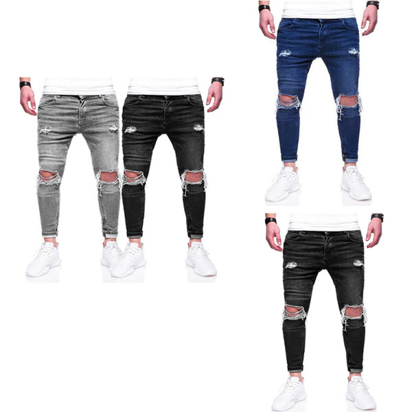 New Europe and America Spring and Autumn High Street Men's Jeans Holes Street Slim Fit Feet Zipper Zipper Fashion Trousers