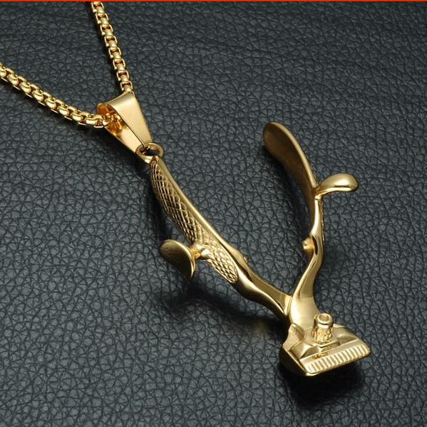 HIP Gold Color Haircut Scissors Pendant Necklace Mini Hair Styling Device Barber Stainless Steel Necklace for Men Jewelry