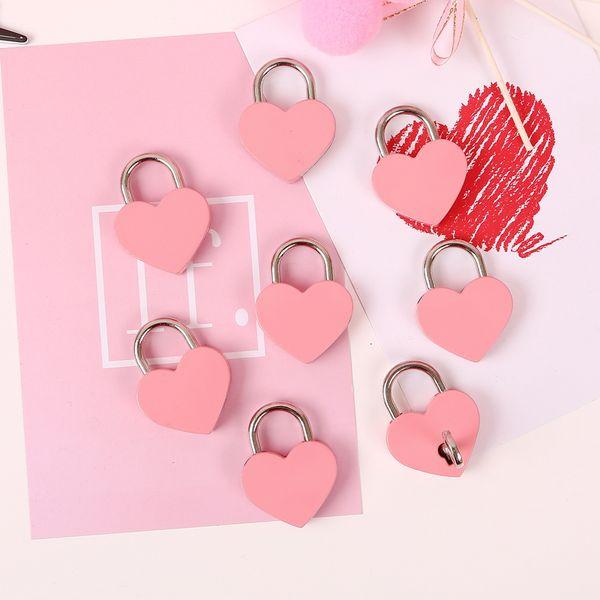 Heart Shaped Padlock Electroplate Iron Mini Lock Valentine's Day Souvenirs Photo Props for Drawer Locker Handbag