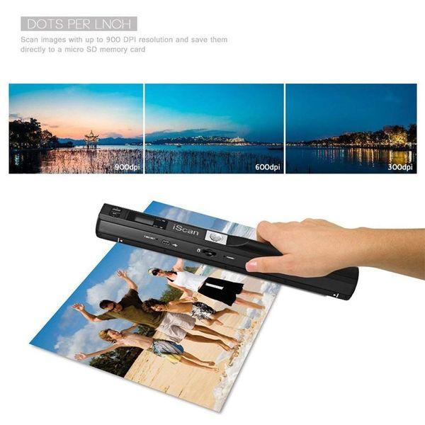 Handheld USB Mobile Magic Portable DocumentImage Scanner Pantalla LCD 900DPI Compatible con JPG / PDF Color / Mono Formato de selección (Blac