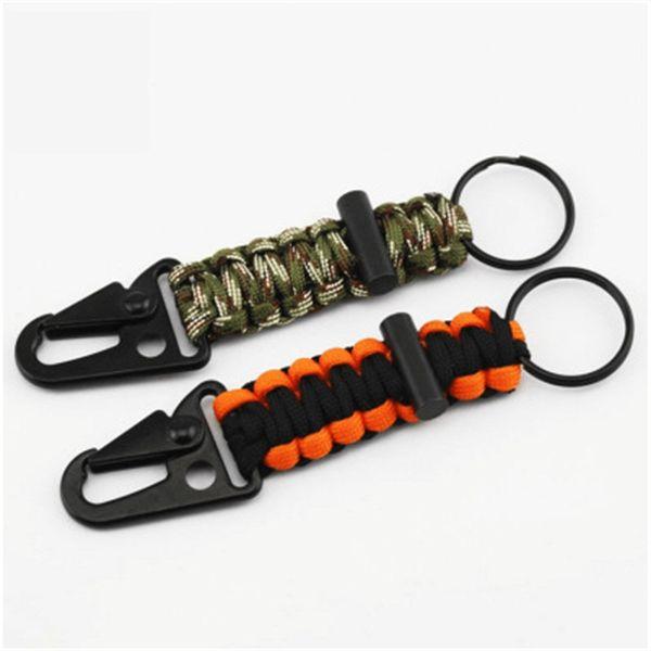 Halat Anahtarlık Açık Kamp Survival Kit Askeri Paraşüt Kordon Acil Düğüm Anahtarlık Yüzük Kamp Karabina Yeni 5xb dd