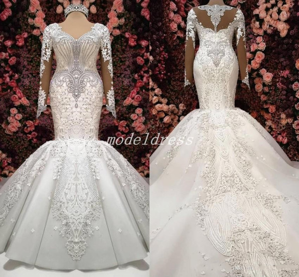 2019 Dubai Luxury Mermaid Wedding Dresses Long Sleeve Major Beading Illusion Bodice Sweep Train Appliques Chapel Castle Country Bridal Gowns
