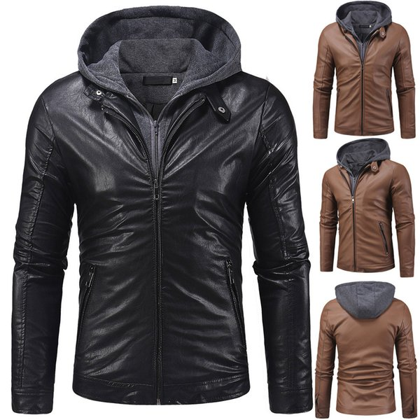 Winter Casual Men's Autumn Hooed Leather Zipper Long Sleeve Coat Male Parka Jacket Mens Solid Thick