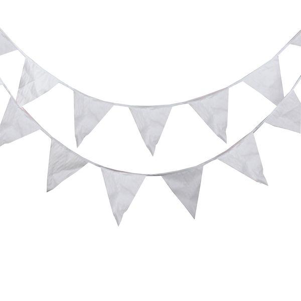 40 Banderas 16 M Banderas Blancas Tejido de Seda Bunting Banderín Bandera Bandera Guirnalda Boda / Cumpleaños / Baby Show Party Accesorios decorativos