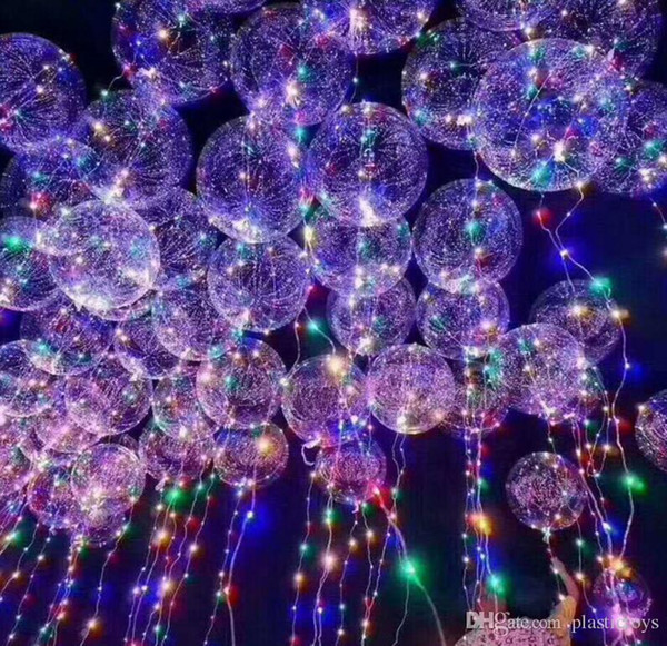 2017 New Light Up Toys LED String Lights Flasher Lighting Balloon Wave Ball 18inch Helium Balloons Christmas Halloween Decoration Toys