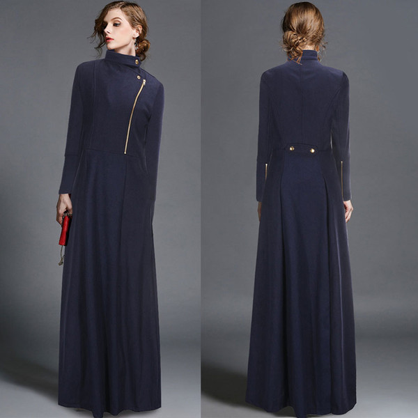 2018 nuovo autunno e inverno cappotto di lana giacca a vento a maniche lunghe lungo cappotto femminile europeo e americano in oro e lana
