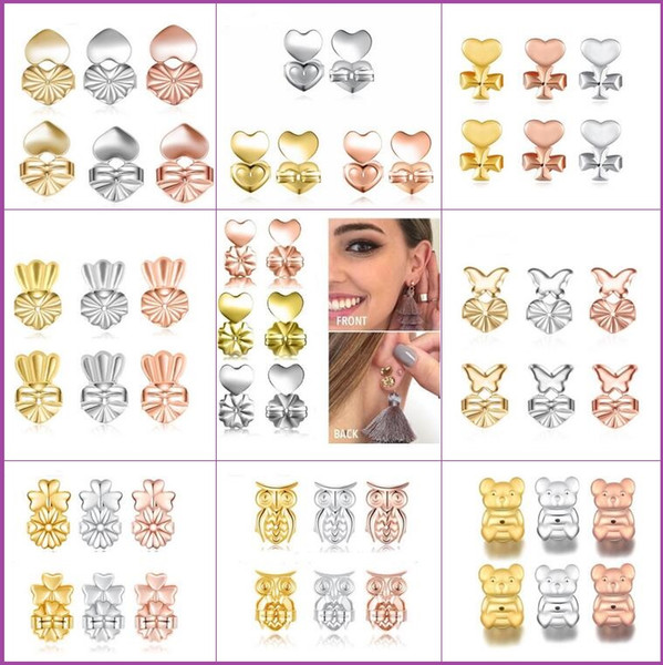 best selling New Fashion Crown Clover Owl Love Magic Bax Earring Backs Support Earring Lifts Fits All Post Earrings free shipping