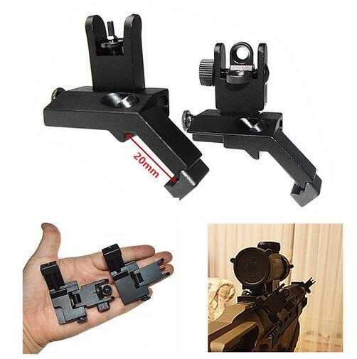 FIRECULB AR15 1 Pair Tactical BUIS Backup Front Rear Flip Up 45 Degree Offset Rapid Transition Iron Sight