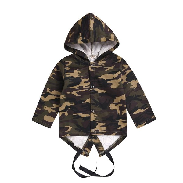 Newborn Kids Baby Boys Girls Camouflage Hooded Jacket Coat Outwear Autumn Long Sleeve Cool Boy Clothes Tops