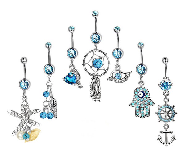 7PCS/set Navel Piercing Rings Vintage Star Fatima Hand Anchor Owl Belly Button Ring Belly Piercing CZ Crystal Party Gift Decor Body Jewelry