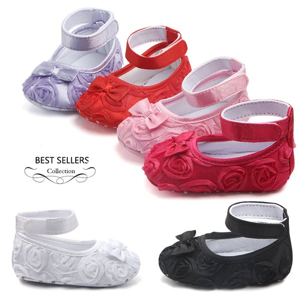 Baby Girls Princess Shoes Infant Toddler Crib Kids First Walkers Roses Flowers Big Bow Soft Soled Anti-Slip Shoes