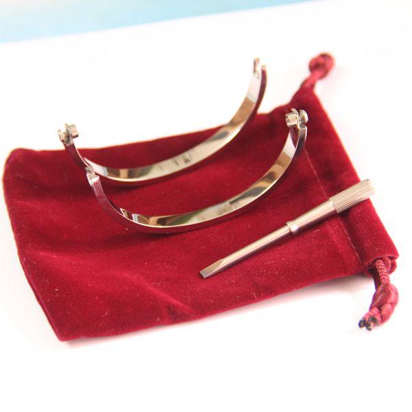 Braccialetti d'amore in acciaio al titanio per donna oro rosa / argento / oro Girocollo per cacciavite Bracciale con ciondolo a forma di coppia Coppia gioielli con borsa originale