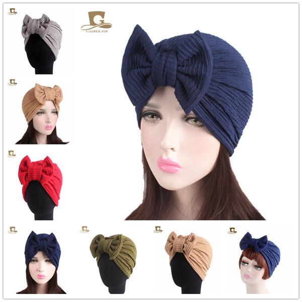 Muslimische Frauen Baumwolle Elastische Bowknot Rüsche Turban Hut Chemo Beanies Caps Damen Bandanas Headwear Bonnet Haarausfall Für Krebs