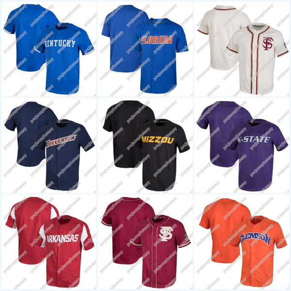 huge selection of d7380 18a34 2019 Missouri Tigers Arkansas Razorbacks Cal State Fullerton Titans Clemson  Tigers Florida Gators Kentucky Wildcats Performance Baseball Jersey From ...