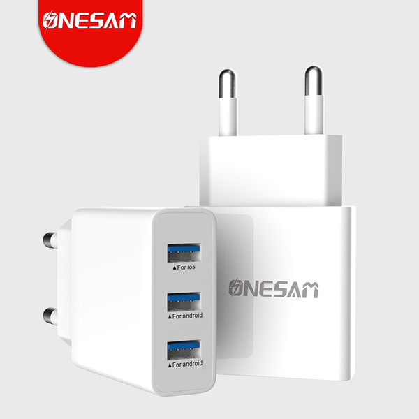 ONESAM 3USB+Cable Ports Power Adapter Charger 240V 0.35A Travel Wall Charger EU Plug Converter Smart Safety Auto-Max 3.1A White+Black OS-C06