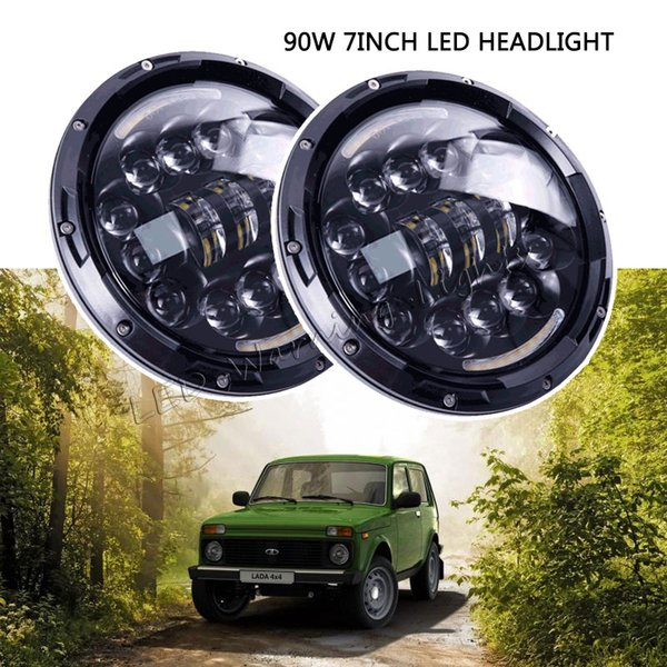 free shipping 4pairs 90W offroad 7inch round LED headlamp PAR56 replacement with DRL turn signal H4 H13 plug for 4x4 Wrangler JK CT trucks