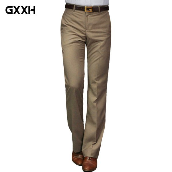 2018 nuevos pantalones acampanados Male Summer Straight Suit pantalones de ocio británico Pantalones de pies calientes gratis color gris oscuro / negro / rojo vino