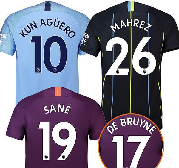 0e316be0c 2018 19 City Home Blue Soccer Jersey 3rd away KUN AGUERO Football Soccer  Shirt 2019 Customized 17 DE BRUYNE 33 G.JESUS Football Uniform