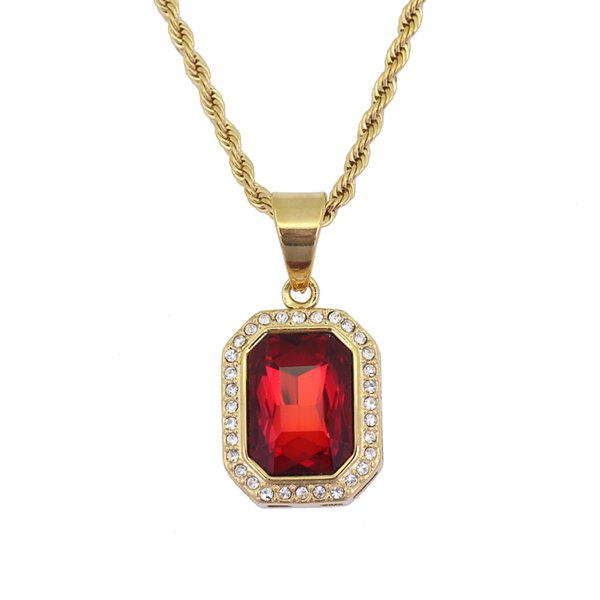 5 colors Stainless Steel Jewelry hip hop Ruby Stone Pendant Necklace with 3mm 24inch Rope Chain SN123