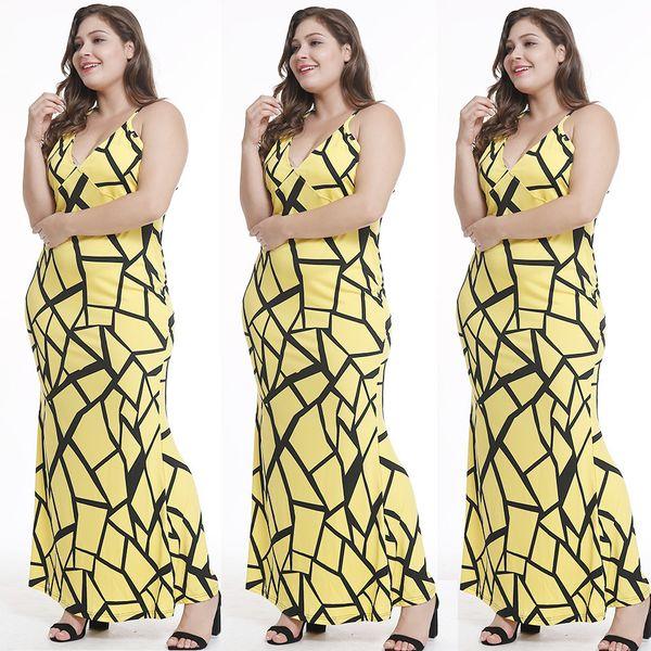 Free Ship Women Sexy V-neck Print Strap Dress High Waisted Bodycon Long Pencil Dress 5XL Plus Size
