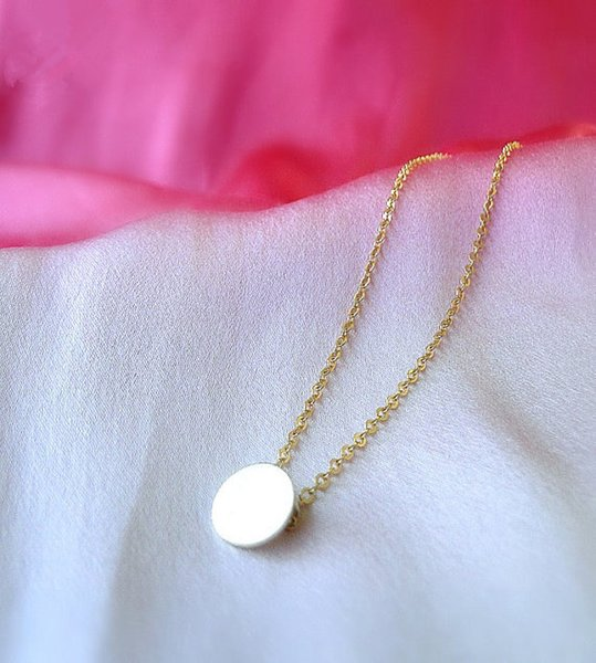 brushed round necklace small disc round coin necklace geometric disc necklace fashion simple temperament female lucky jewelry
